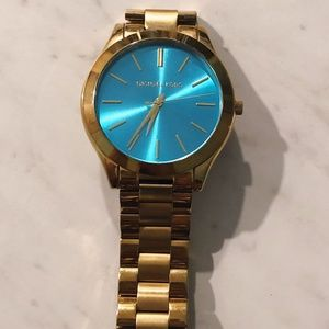 Gold with Blue Face Michael Kors Watch
